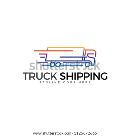 Truck shipping icon vector with colorful design.