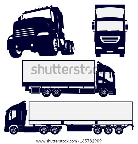 truck silhouettes set