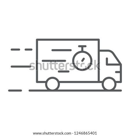 Truck thin line icon, delivery and shipping, lorry sign, vector graphics, a linear pattern on a white background, eps 10.