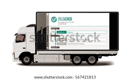 Truck - Tracking system - Packages delivery concept