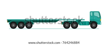 Truck trailer long vehicle with flat design style vector illustration.