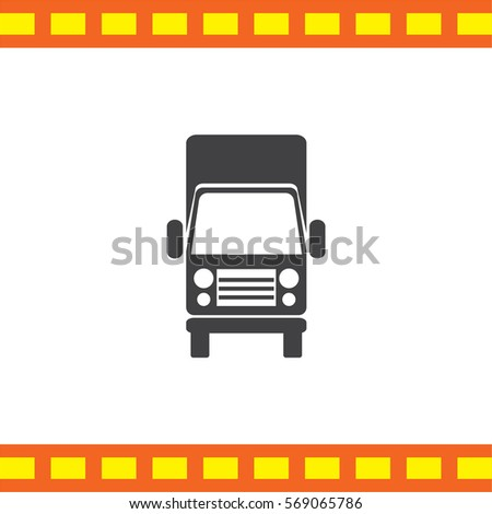 Truck vector icon. Transportation vehicle. Shipping and delivery symbol