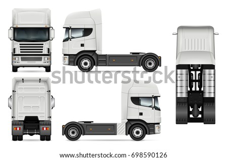 Truck vector mock-up for advertising, corporate identity. Isolated lorry template on white background. Vehicle branding mockup. All layers and groups well organized for easy editing and recolor.