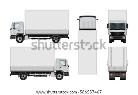 Truck vector mock-up. Isolated template of box lorry on white background. Vehicle branding mockup. Side, front, back, top view. All elements in the groups on separate layers. Easy to edit and recolor.