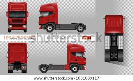 Truck vector mock-up. Isolated template of lorry on transparent background. Vehicle branding mockup. Side, front, back, top view. All elements in the groups on separate layers Easy to edit and recolor