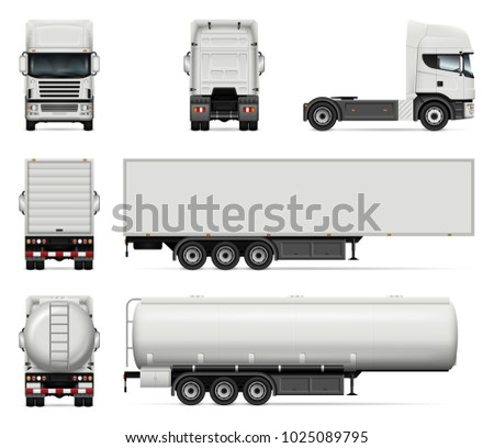 Truck vector mock-up. Isolated template of lorry on white background. Realistic vehicle branding mockup. Side, front, back view All elements in the groups on separate layers. Easy to edit and recolor