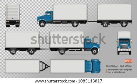 Truck vector mockup. Isolated template of lorry with trailer on transparent background for vehicle branding, corporate identity. View from left, right, front, back, top sides.