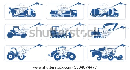 Truck Wash Systems. Deep cleaning. Illustration presenting washing of trucks, heavy trucks, Heavy-duty vehicles, transportation and construction machinery.