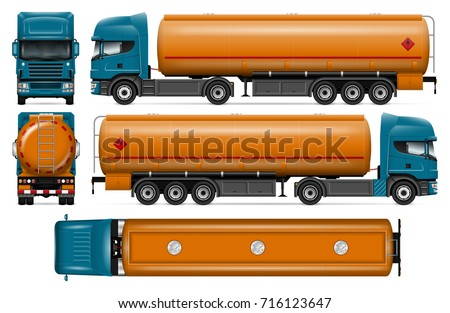 truck with fuel tank vector