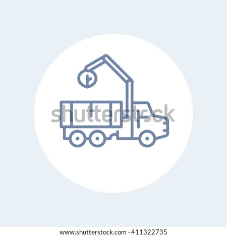 truck with loader line icon