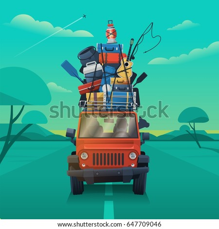 Truck with luggage on top vector background