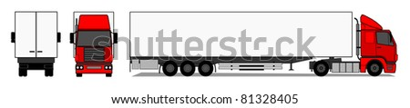 Truck with trailer vector