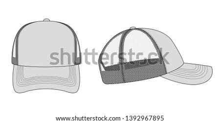 trucker cap / mesh cap template illustration (gray)