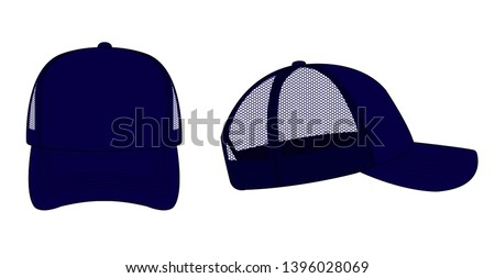trucker cap / mesh cap template illustration (navy blue)