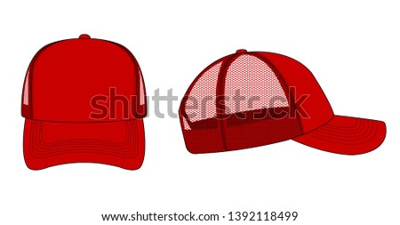 trucker cap / mesh cap template illustration (red)