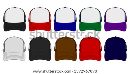 trucker cap / mesh cap template illustration set ( front view)