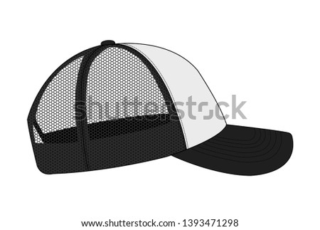 trucker cap / mesh cap template illustration / side view (white & black)