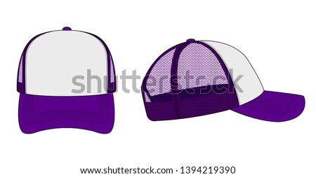 trucker cap / mesh cap template illustration (white and purple)