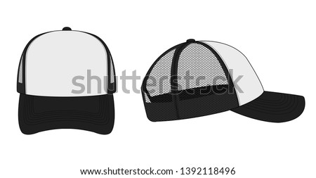 trucker cap / mesh cap template illustration (white & black)