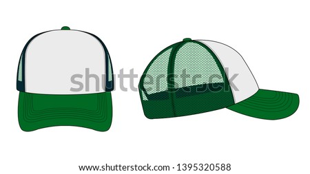 trucker cap / mesh cap template illustration (white & green)