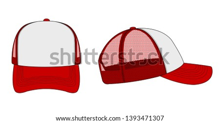 trucker cap / mesh cap template illustration (white & red)