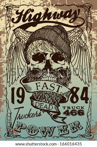 trucker print vector