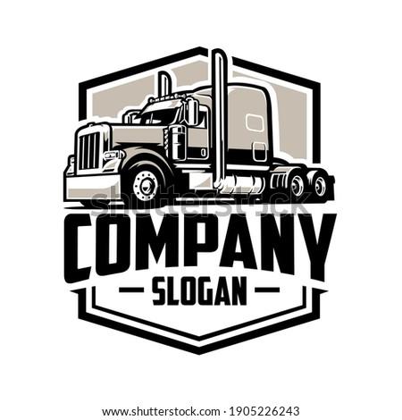 Trucking company logo, semi truck logo, 18 wheeler ready made logo template set vector isolated Сток-фото ©