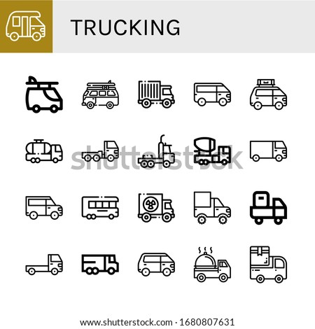 trucking icon set. Collection of Van, Truck, Tank truck, Mixer truck, Cargo Delivery Lorry icons
