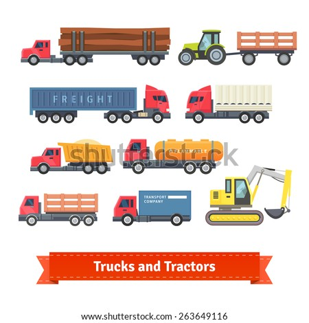 trucks and tractors set flat