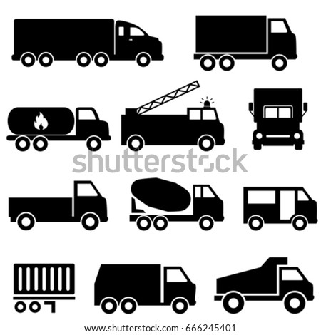 Trucks and transportation web icon set