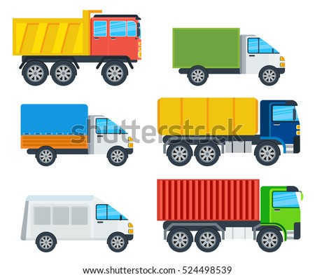 Trucks cartoon models. Lorry, freezer, tipper, road tanker, mining truck, container carrier and wagon vector illustrations isolated on white. Vehicles for freight transportation. For transport company ad