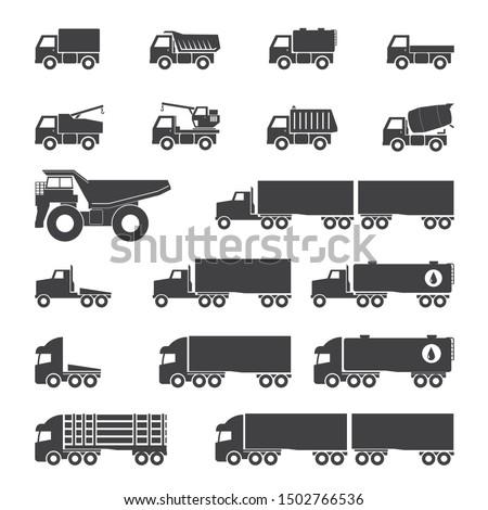 Trucks icons set, vector illustration.