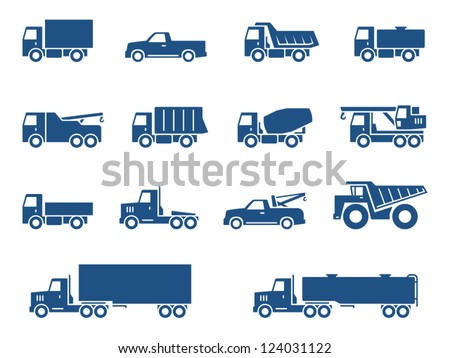 trucks icons set vector