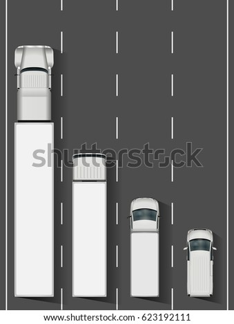 trucks on the road vector
