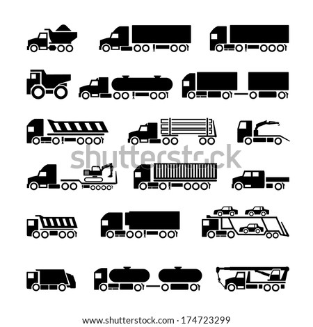 Trucks, trailers and vehicles icons set isolated on white. Vector illustration