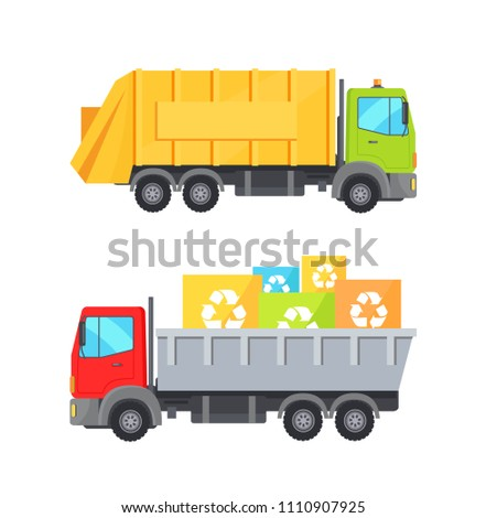 Trucks transporting waste set of lorries loaded container having recycling sign, transport collection vector illustration isolated on white background