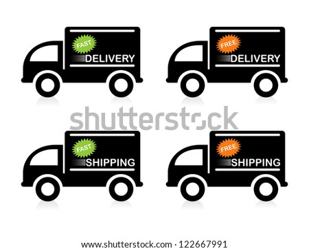 "Trucks with ""Free"" and ""Fast"" delivery/shipping sign."