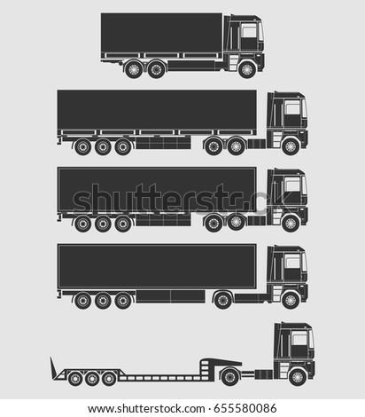 Trucks with semi trailers vector set