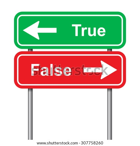 True and false green and red signal on a white background