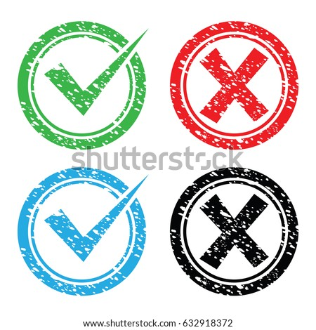 true and false rubber stamps in green, red, blue and black color isolated on white background