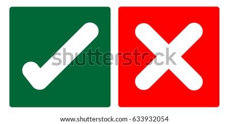 true and false symbols vector
