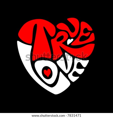 Picture Love on True Love Heart  Vector   7831471   Shutterstock