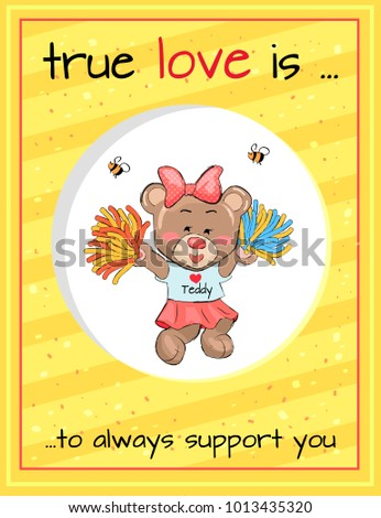 True love is an always support, lovely teddy girl in cheerleading uniform with poms in hands and bees helpers above vector Valentines Day concept #1013435320