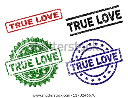 TRUE LOVE seal prints with damaged style. Black, green,red,blue vector rubber prints of TRUE LOVE text with dust style. Rubber seals with round, rectangle, medallion shapes.
