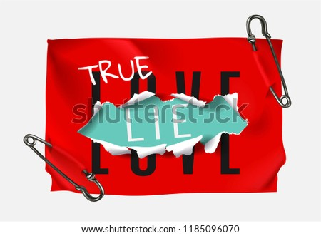 true love true lie on red paper secured by pins