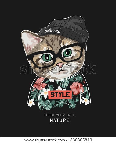 true nature slogan with cute cat in hawaii shirt and knit hat on black background