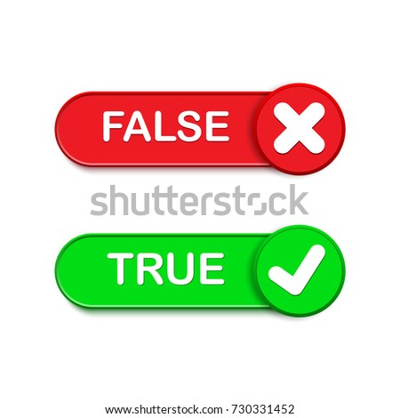 True or false button vector set