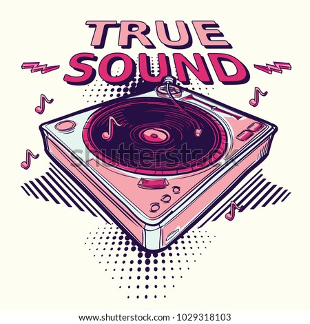 True sound - funky decorative music design with turntable