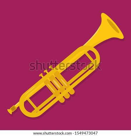 trumpet isolated for music instrument concept vector illustration