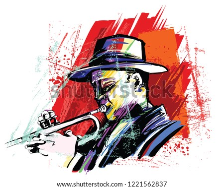 Trumpet player over grunge background - vector illustration